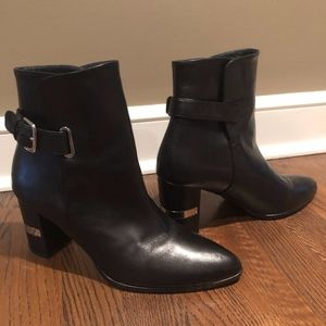 Black Leather ankle Booties